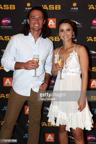 Lauren Davis of USA and Edward Elliot pose for a photograph during the 2020 ASB Classic Players Party at Soul Bar on January 05, 2020 in Auckland,...