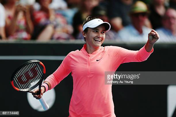 Lauren Davis of USA celebrates after winning her final match against Ana Konjuh of Croatia on day six of the ASB Classic on January 7, 2017 in...