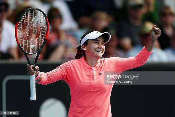 Lauren Davis of USA celebrates winning her final match against Ana Konjuh of Croatia on day six of the ASB Classic on January 7, 2017 in Auckland,...