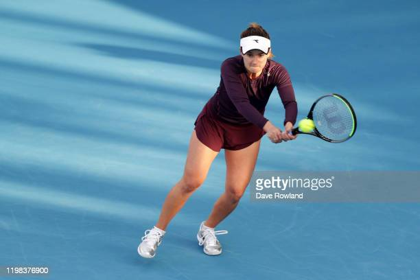 Lauren Davis of USA during her match against Caroline Wozniacki of Denmark during day four of the 2020 Women's ASB Classic at ASB Tennis Centre on...