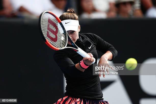 Lauren Davis of USA plays a forehand in her semi final match against Jelena Ostapenko of Latvia on day five of the ASB Classic on January 6, 2017 in...