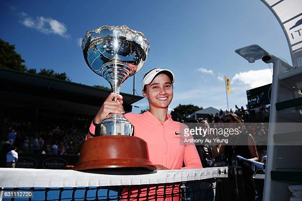 Lauren Davis of USA poses with the trophy after winning her final match against Ana Konjuh of Croatia on day six of the ASB Classic on January 7,...
