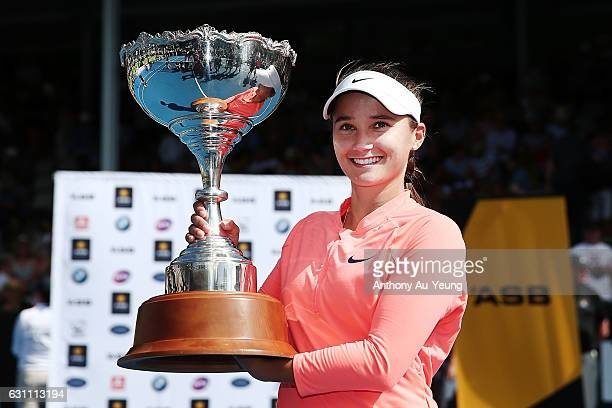 Lauren Davis of USA poses with the trophy after winning her final match against Ana Konjuh of Croatia on day six of the ASB Classic on January 7 2017...