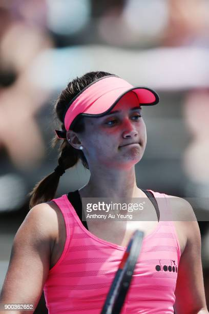 Lauren Davis of USA reacts in her first round match against Sachia Vickery of USA during day two of the ASB Women's Classic at ASB Tennis Centre on...