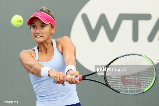 Lauren Davis volleys during her match against Magda Linette of Poland the Top Seed Open - Day 1 at the Top Seed Tennis Club on August 10, 2020 in...