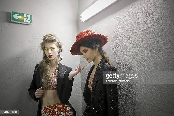 Lauren de Graaf and model pose Backstage prior the Jean Paul Gaultier Fashion Week on January 25, 2017 in Paris, France.