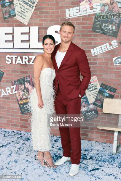 """Lauren Dear and Alexander Ludwig are seen as STARZ celebrates the premiere of its new series """"Heels"""" on August 10, 2021 in Los Angeles, California."""