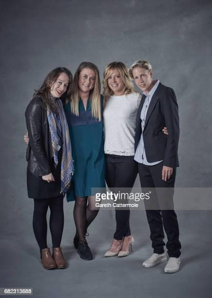 Lauren Della Marta Hannah Bailey snowboarder Jenny Jones and Lucy Adams pose for a portrait session at the Women's Sport Trust #BeAGameChanger Awards...