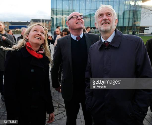 Lauren Dingsdale Labour candidate for Middlesbrough South and East Cleveland Councillor Mick Thompson and Labour leader Jeremy Corbyn look on at a...