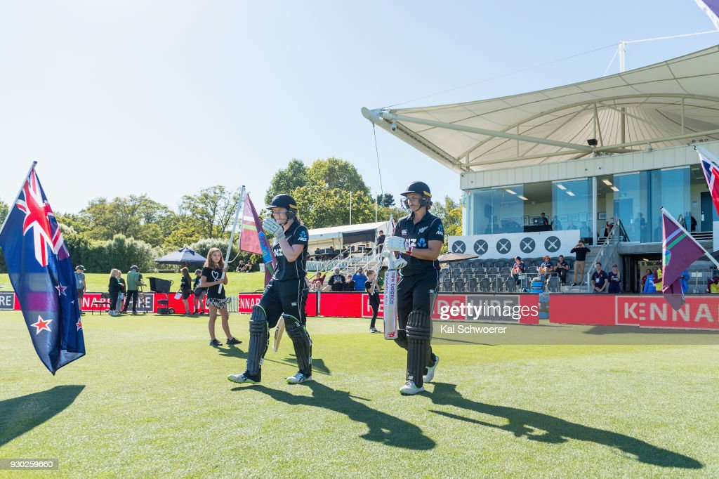 Lauren Down and Suzie Bates of New Zealand (L-R) walk out to bat during the Women's One Day International match between New Zealand and the West Indies on March 11, 2018 in Christchurch, New Zealand.