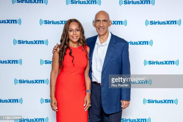 Lauren Dungy and NFL Coach Tony Dungy visit SiriusXM Studios on August 21 2019 in New York City