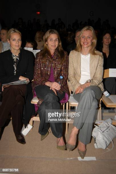 Lauren Dupont Aerin Lauder and Renee Rockefeller attend Tuleh Fashion Show at The Promenade on February 8 2004 in Bryant Park NY