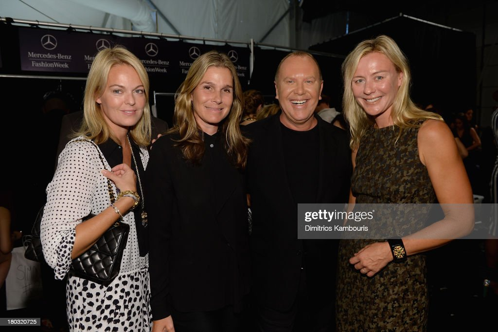 Lauren Dupont, Aerin Lauder, designer Michael Kors and Renee Rockefeller backstage at the Michael Kors fashion show during Mercedes-Benz Fashion Week Spring 2014 at The Theatre at Lincoln Center on September 11, 2013 in New York City.