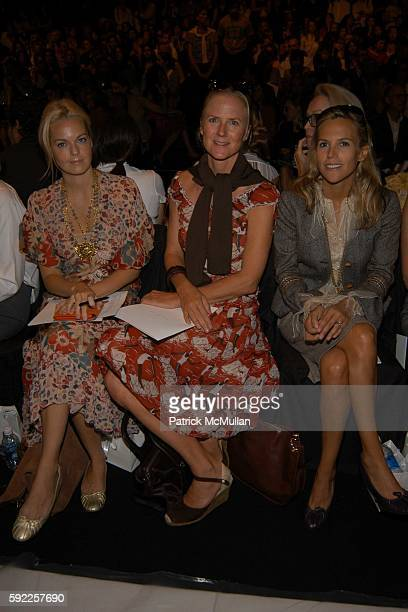 Lauren DuPont Gigi Mortimer and Tory Burch attend Carolina Herrera Spring 2006 Fashion Show at The Plaza at Bryant Park on September 12 2005 in New...