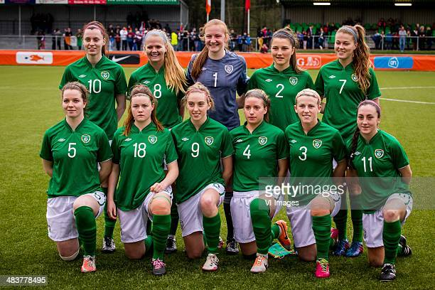 Lauren Dwyer of Ierland Grace Wright of Ierland goalkeeper Courtney Brosnan of Ierland Keeva Keenan of Ierland Sarah Rowe of Ierland Ciara O'Connel...