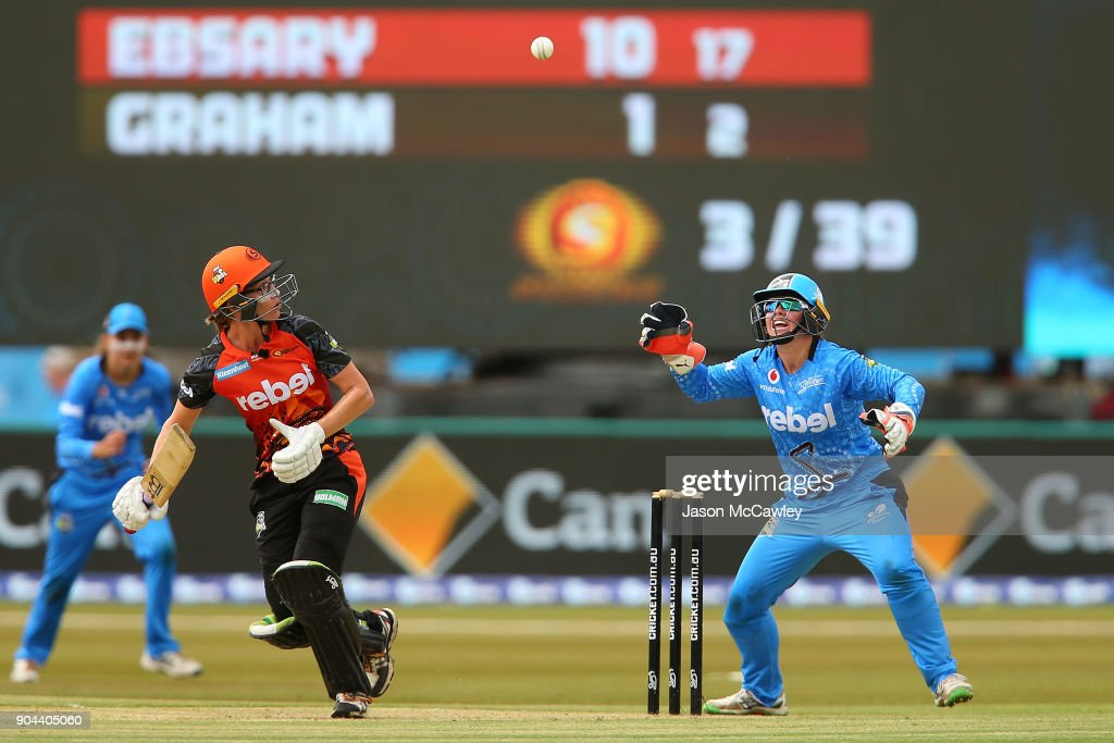 Lauren Ebsary of the Scorchers bats during the Women's Big Bash League match between the Adelaide Strikers and the Perth Scorchers at Traeger Park on January 13, 2018 in Alice Springs, Australia.