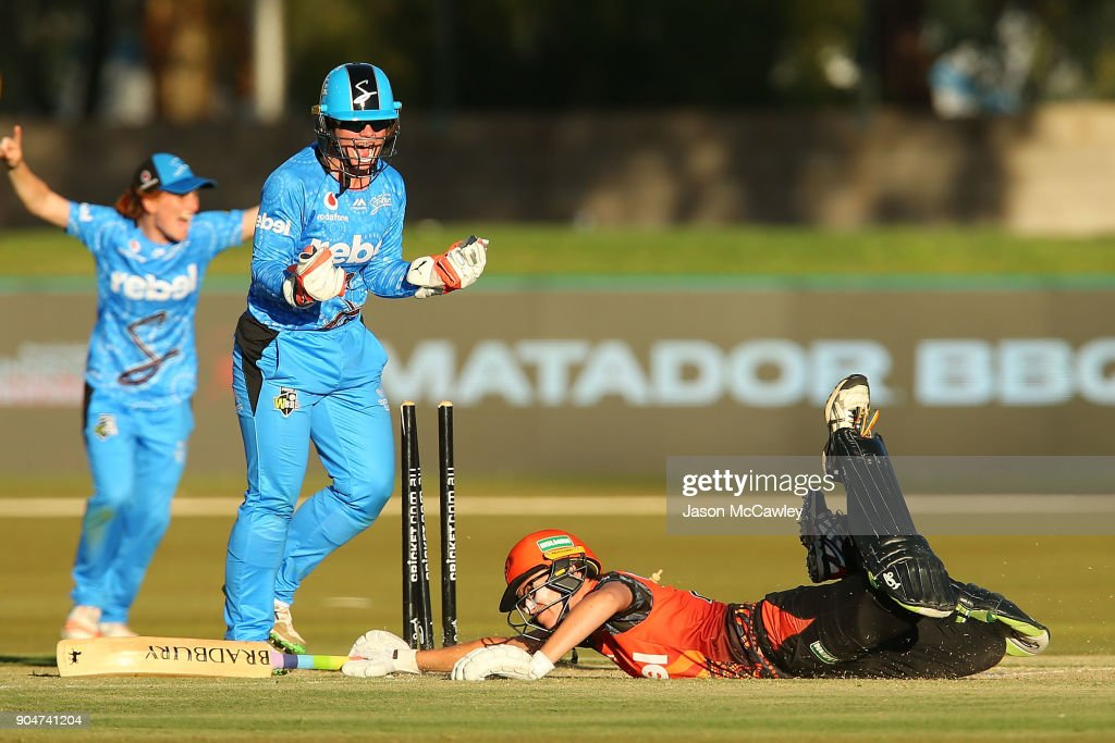 Lauren Ebsary of the Scorchers is run out during the Women's Big Bash League match between the Perth Scorchers and the Adelaide Strikers at Traeger Park on January 14, 2018 in Alice Springs, Australia.