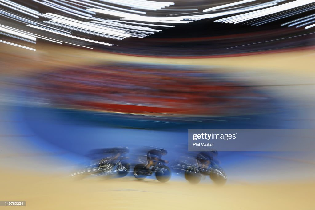 Lauren Ellis, Jaime Nielsen and Alison Shanks of New Zealand compete in the Women's Team Pursuit Track Cycling qualifying on Day 7 of the London 2012 Olympic Games at Velodrome on August 3, 2012 in London, England.