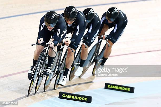 Lauren Ellis Jaime Nielsen Georgia Williams and Rushlee Buchanan of New Zealand during a 4000m Team Pursuit time trial at the New Zealand Track...