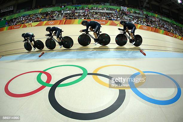 Lauren Ellis Racquel Sheath Rushlee Buchanan and Jaime Nielsen of New Zealand compete in the Women's Team Pursuit Final for the Bronze medal on Day 8...