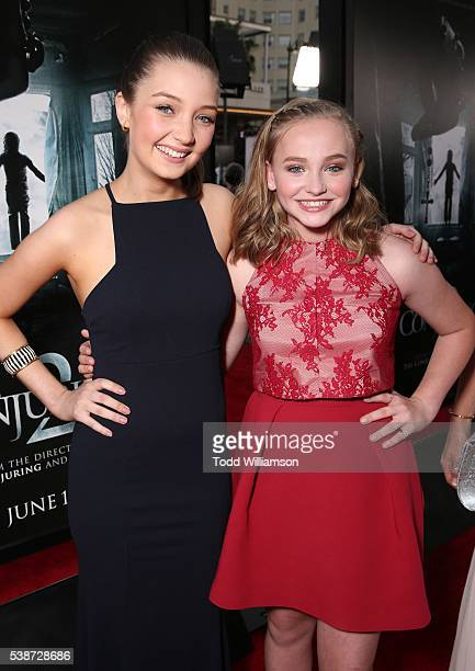 Lauren Esposito and Madison Wolfe attend the Los Angeles Film Festival The Conjuring 2 Premiere at TCL Chinese Theatre IMAX on June 7 2016 in...
