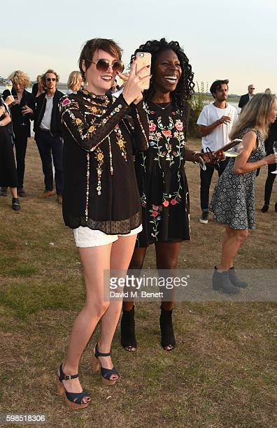 Lauren Estelle Jones and Jeni Cook attend Krug Island a food and music experience hosted by Krug champagne on September 1 2016 in Maldon England