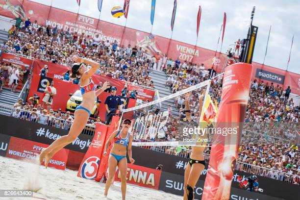 Lauren Fendrick of the United States in action during Day 9 of the FIVB Beach Volleyball World Championships 2017 on August 5 2017 in Vienna Austria