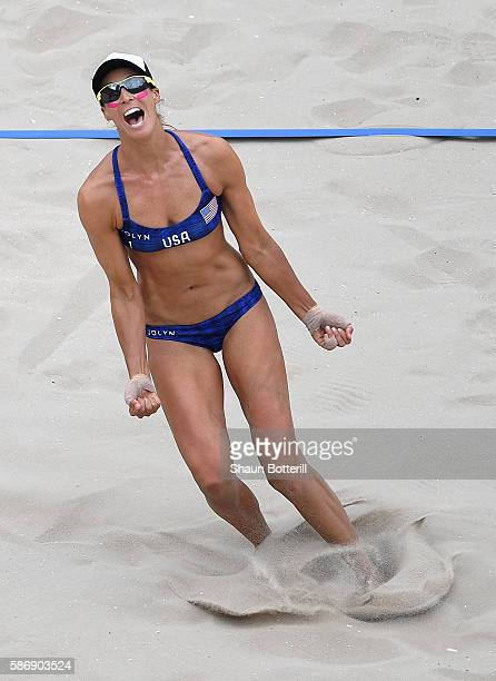 Lauren Fendrick of the United States reacts during the Women's Beach Volleyball preliminary round Pool A match against Kinga Kolosinska and Monika...