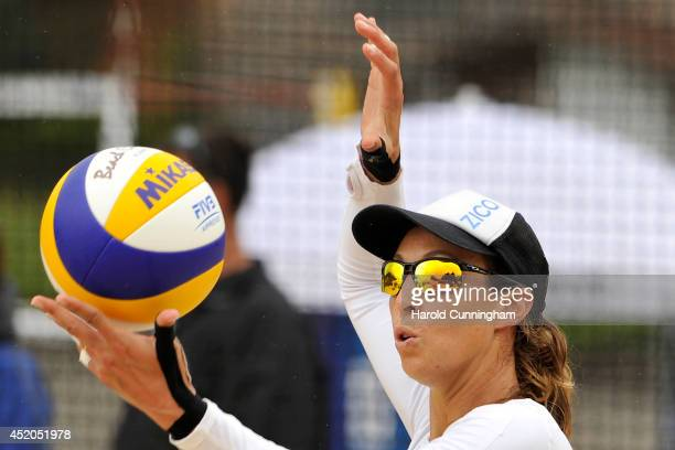 Lauren Fendrick of USA serves during the women main draw match LaboureurSchumacher v FendrickSweat as part of the fourth day of the FIVB Gstaad Grand...