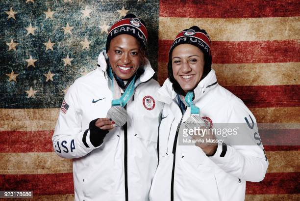 Lauren Gibbs and Elana Meyers Taylor of the United States pose for a portrait with their silver medals in the Twowoman Bobsled on the Today Show Set...
