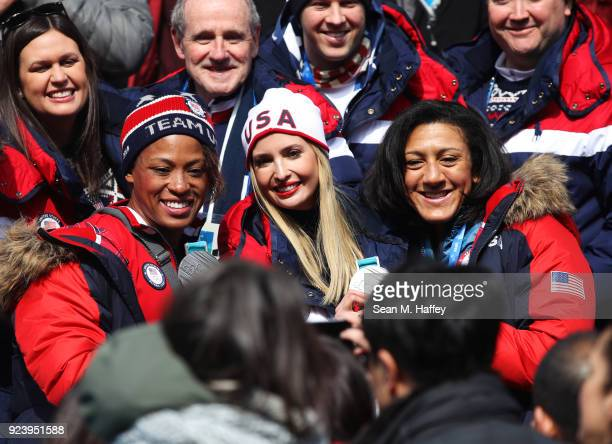 Lauren Gibbs Ivanka Trump and Elana Meyers Taylor pose for photographs during the 4man Boblseigh heats on day sixteen of the PyeongChang 2018 Winter...