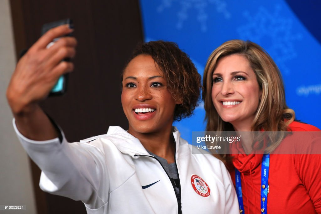 Lauren Gibbs poses for a selfie with TV personality Cheryl Preheim of 11Alive Atlanta NBC during the United States Women's Bobsleigh Team press conference ahead of the PyeongChang 2018 Winter Olympic Games at the Main Press Centre on February 9, 2018 in Pyeongchang-gun, South Korea.