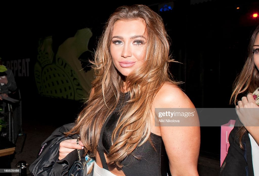 Lauren Goodger is sighted leaving the Minestry of Sound, Elephant and Castle on October 21, 2013 in London, England.