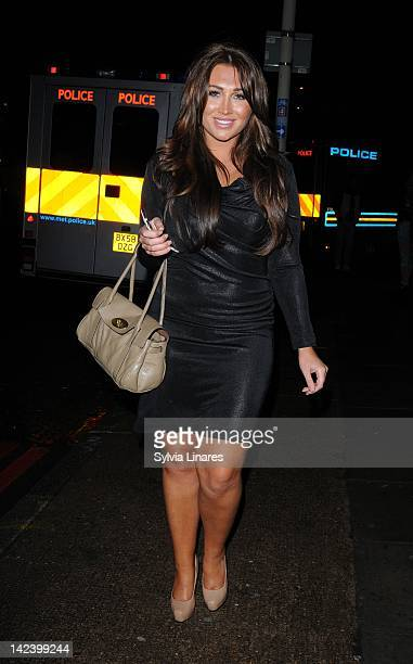 Lauren Goodger leaves The Bankside Vaults also known as Pulse on April 3 2012 in London England Around 450 guests including a number of celebrities...