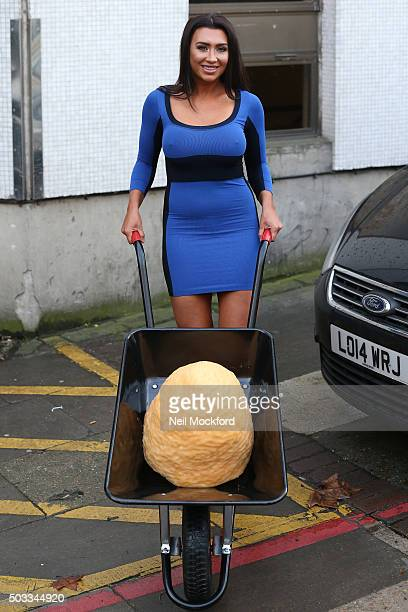 Lauren Goodger seen at the ITV Studios after appearing on Loose Women As she left the studios she pushed a wheelbarrow containing 4 stone of fat on...
