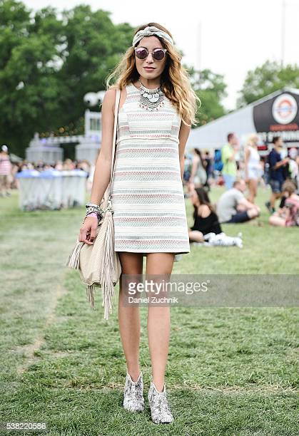 Lauren Gould is seen wearing an outfit from Lord and Taylor with an Urban Outfitters necklace during Day 2 of the 2016 Governors Ball Music Festival...