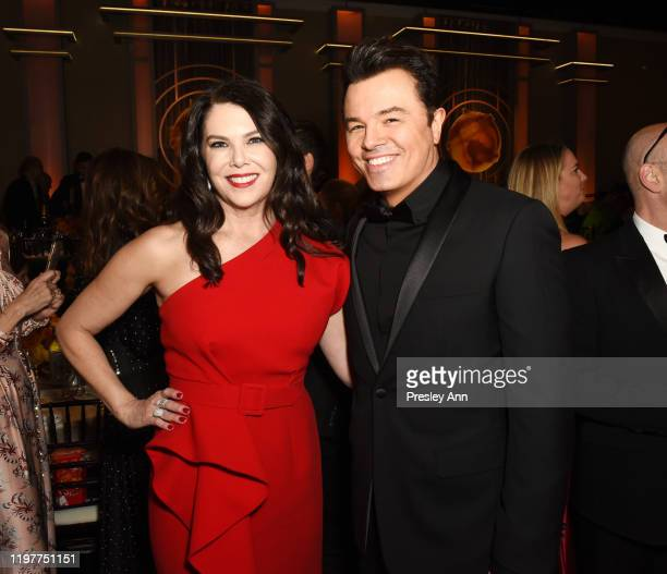 Lauren Graham and Seth MacFarlane attend the 77th Annual Golden Globe Awards sponsored by Icelandic Glacial on January 5 2020 at the Beverly Hilton...