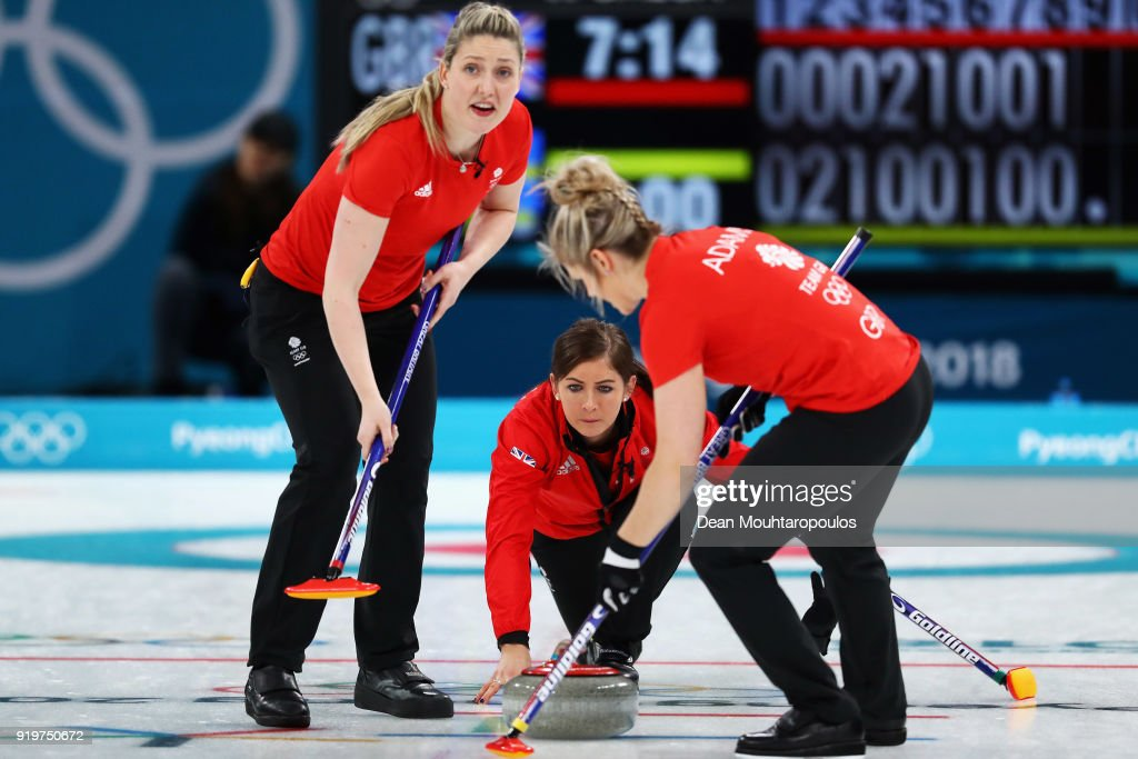 Lauren Gray, Vicki Adams and Eve Muirhead of Great Britain compete during the Women Curling round robin session 7 on day nine of the PyeongChang 2018 Winter Olympic Games at Gangneung Curling Centre on February 18, 2018 in Gangneung, South Korea.