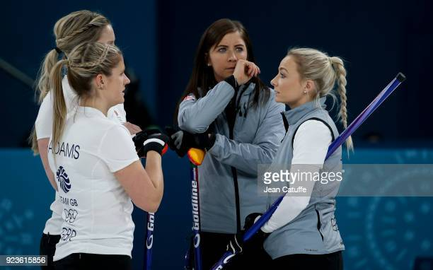 Lauren Gray Vicki Adams Eve Muirhead and Anna Sloan of Great Britain during the women's curling semifinal game between Sweden and Great Britain on...