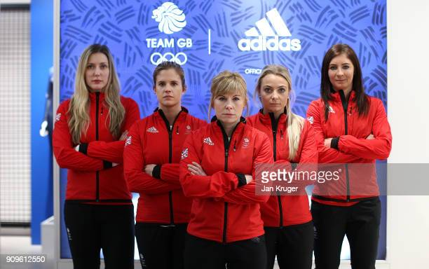 Lauren Gray Vicki Adams Kelly Schafer Anna Sloan and Eve Muirhead pose during the Team GB Kitting Out Ahead Of Pyeongchang 2018 Winter Olympic...