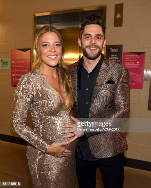 Lauren Gregory Akins and Thomas Rhett attend the 52nd Academy Of Country Music Awards at TMobile Arena on April 2 2017 in Las Vegas Nevada