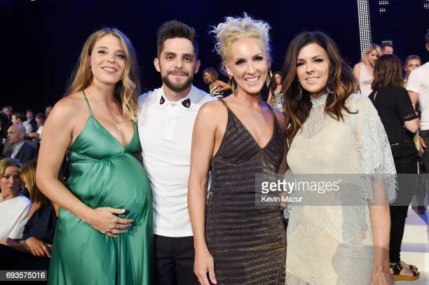 Lauren Gregory Thomas Rhett Kimberly Schlapman and Karen Fairchild of Little Big Town in audience of the 2017 CMT Music Awards at the Music City...