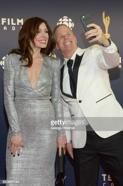 Lauren Hammersley and Gerry Dee attend 2017 Canadian Screen Awards at Sony Centre For Performing Arts on March 12 2017 in Toronto Canada