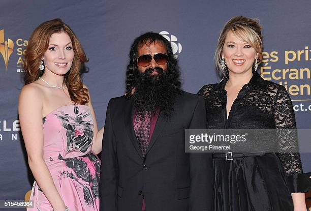 Lauren Hammersley Suresh John and Naomi Snieckus arrive at the 2016 Canadian Screen Awards at the Sony Centre for the Performing Arts on March 13...