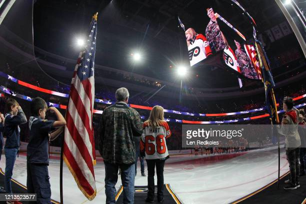 Lauren Hart sings the National Anthem prior to an NHL game between the Philadelphia Flyers and the Boston Bruins on March 10 2020 at the Wells Fargo...