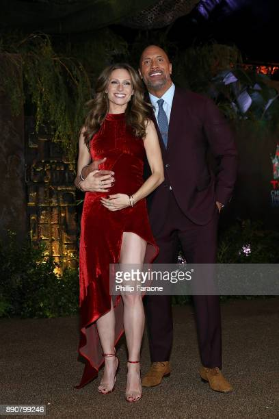 "Lauren Hashian and Dwayne Johnson attend the premiere of Columbia Pictures' ""Jumanji: Welcome To The Jungle"" on December 11, 2017 in Hollywood,..."