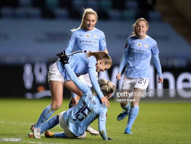Lauren Hemp of Manchester City celebrates after scoring her sides second goal with her team mates during the Barclays FA Women's Super League match...