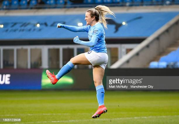 Lauren Hemp of Manchester City celebrates after scoring her teams secfirstnd goal during the Women's UEFA Champions League Round of 16 match between...