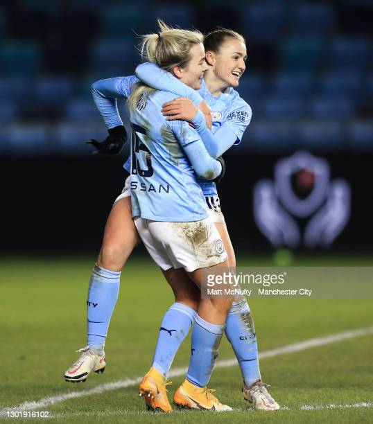 Lauren Hemp of Manchester City celebrates with teammates after scoring her teams second goal during the Barclays FA Women's Super League match...