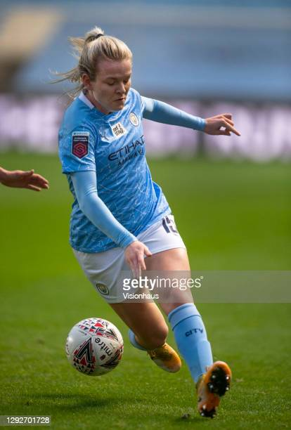Lauren Hemp of Manchester City in action during the UEFA Women's Champions League Round of 32 Second Leg match between Manchester City and Goteborg...